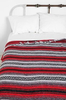 Authentic Mexican Falsa Blanket Hand Woven Mat Bed Blanket 76 L x 53 W inch Red