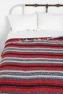 "Xmas Authentic Mexican Falsa Blanket Hand Woven Mat Bed Blanket 76L x 53W "" Red"