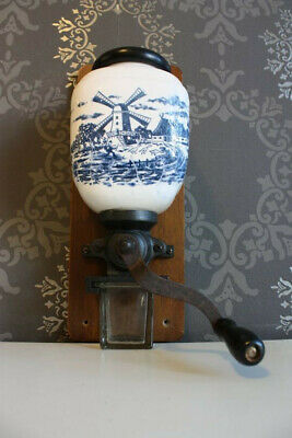 Vintage Dutch Holland Delft Blue/white Wall Mount Coffee Grinder.