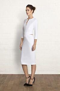 Bastyan Chloe Cut Out Mesh Fit Stretch Fold Pencil Skirt White Dress 16 44