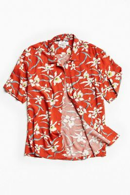 Men Hawaiian Shirt Cruise Tropical Luau Beach Aloha Party Red Caribbean Summer