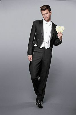 2019 Black Tailcoat 3 Pieces Bridegroom Tuxedo Best Men Formal Wedding Prom