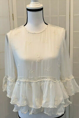 ZARA TRF COLLECTION   White Embroidered Cropped Top with Lace Size Small