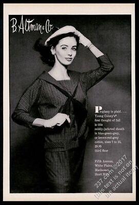 1957 Young Colony women's plaid jacket sheath dress photo vintage print ad](Womens Colonial Clothing)
