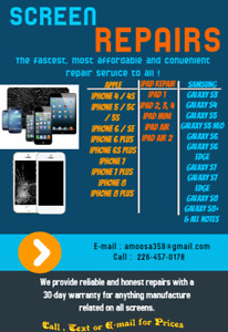 SALE! Screen Repairs ! IPhone 5,6,7,8 Samsung S5,S6,S7,S8 & more