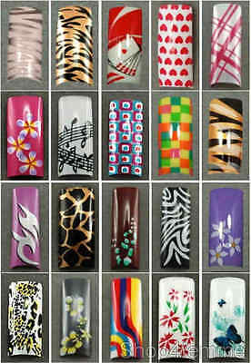 Designer Air Brushed French Nail Tips (with Well) in 10 sizes - Selection A