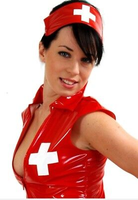 RED PVC NURSE UNIFORM *LOUIMANE* Sexy.NURSES COSTUME DRESS OUTFIT in sizes 8-22 - Red Nurse Outfit