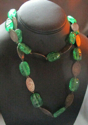 Green Handmade Glass Bead Necklace Wiith Pewter Colored Ovals Floral Design Green Floral Glass