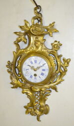 Antique Miniature French Cartel Wall Clock: T.O. with a porcelain dia... Lot 191