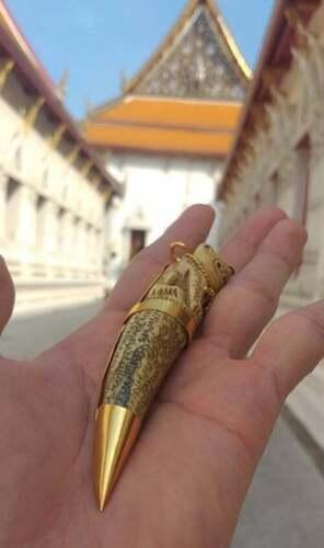 LP Pern Pig Tooth Carving Tiger Thai Bracelet Buddha Amulet Protect Gain Wealth