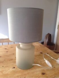 Bedside lamp with grey glass base