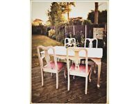Vintage grey table and 4 upholstered chairs chic not shabby