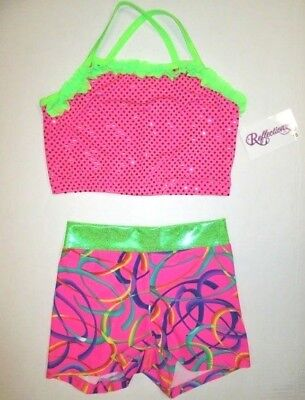 NEW Crop Bra Top Shorts Set Size 10 LC Child Lot of 2 Dance Gymnastics Leotard L