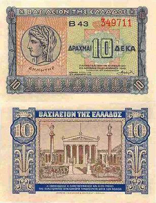 GREECE 10 DRACHMAI 1940 P 314 AUNC