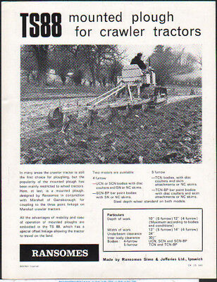 "Ransomes ""TS88"" Mounted Plough for Crawler Tractors Brochure Leaflet"