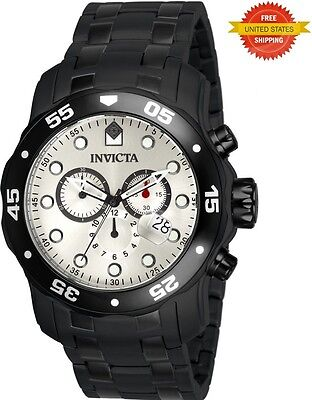 Invicta 80075 Pro Diver Silver Chronograph Dial Black Stainless Steel Watch