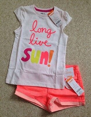 NWT GYMBOREE BRIGHT AND BEACHY 2 PC SET Top Neon Denim Shorts SZ 5 RV$49.87
