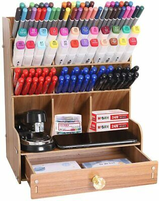Wooden Pencil Pen Organizer Holders Multi-functional Desk Storage Rack W Drawer