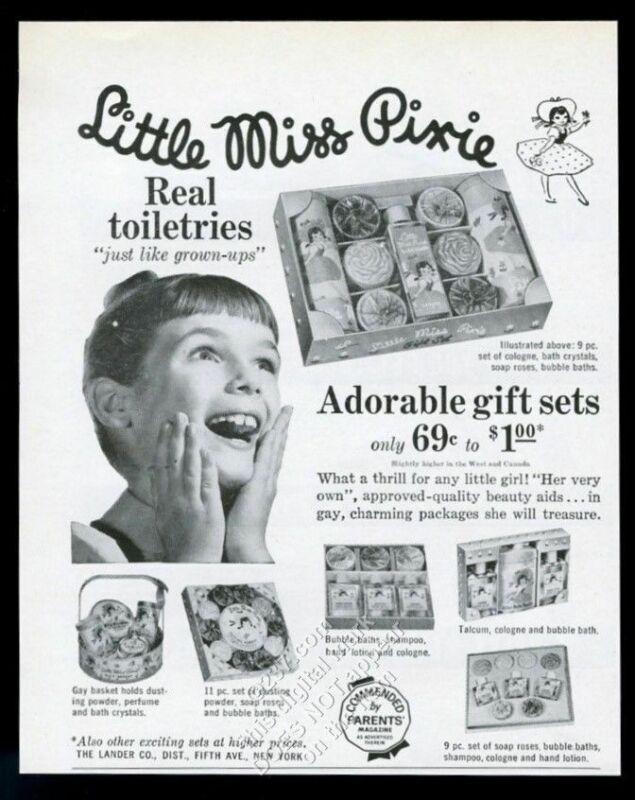 1961 Little Miss Pixie girls toiletries set shampoo cologne etc vintage print ad