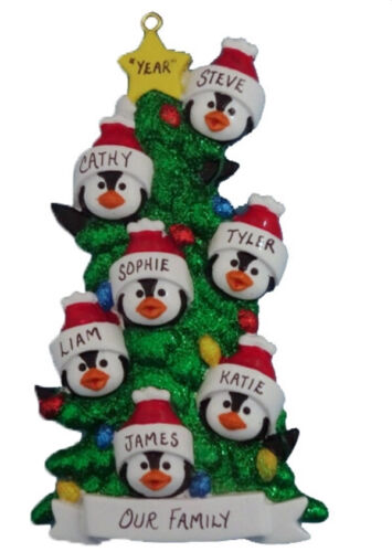 Personalized Penguin Tree Family of 7 Christmas Ornament