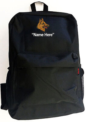 Shepherd Personal (GERMAN SHEPHERD Dog with Personal Name Embroidered Monogrammed Stitched Backpack)