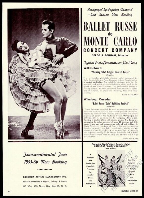 1953 Ballet Russe de Monte Carlo dancers photo USA tour booking print ad