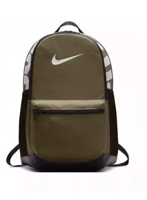 Nike Brasilia Backpack Training New BA5329-399 M Olive Black White Just Do It