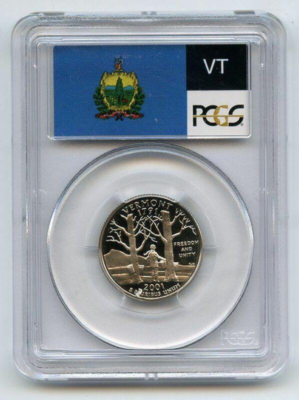 2001 S 25C Clad Vermont Quarter PCGS PR70DCAM