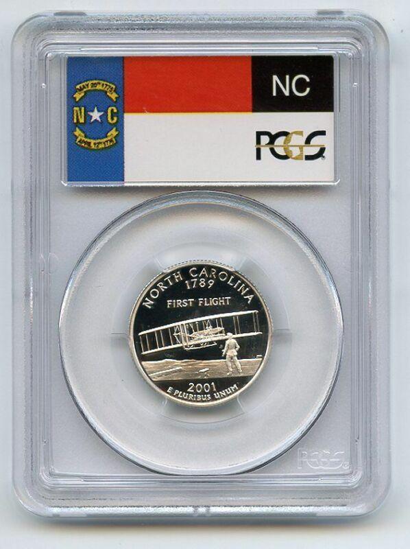 2001 S 25C Silver North Carolina Quarter PCGS PR70DCAM