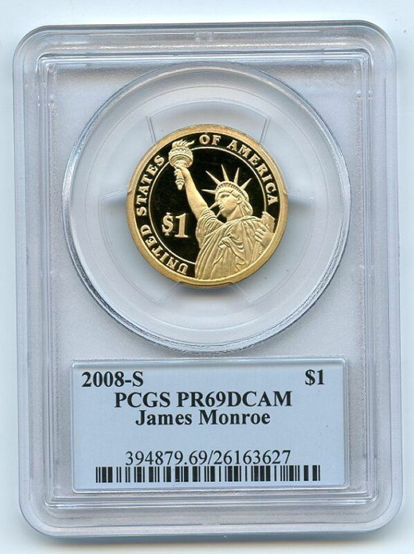 2008 S $1 James Monroe Dollar PCGS PR69DCAM