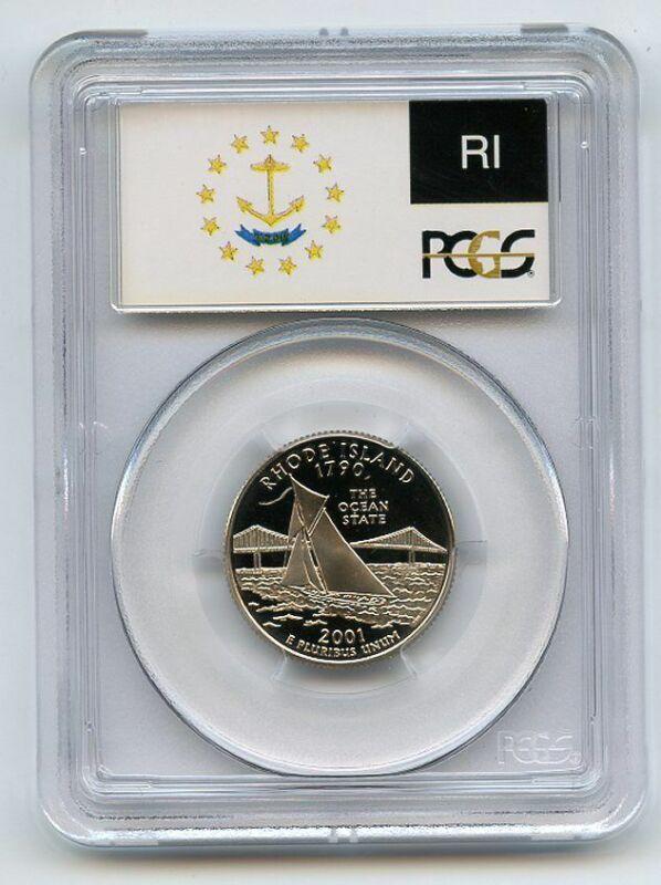 2001 S 25C Clad Rhode Island Quarter PCGS PR70DCAM
