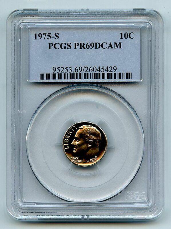 1975 S 10C Roosevelt Dime Proof PCGS PR69DCAM