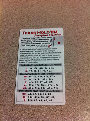 STRATEGY TEXAS HOLD' EM STARTING HANDS & GUIDELINES CARD NEW