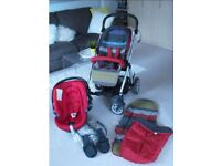 Mamas and Papas Sola Stroller, Car Seat Adapters, Rain Cover, Cosy toes - Excelent Condition