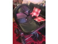 VIB 3 in 1 Pram / Buggy / Car Seat with Rain Cover and Matching Bag