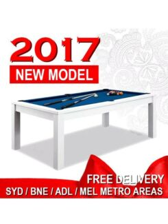 7ft White Gloss & More! Dining Pool Table, converts to Pool Table