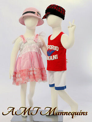 2 Same Child Mannequin Girl Boy Full Body Manikinmetal Stands 2 Manikins-r6