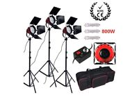 3X Red head 800W Studio Lights