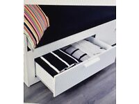 Ikea BRIMNES white double bed with drawers.