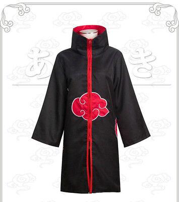 Naruto Costums (Halloween Cosplay Red Cloud Naruto Akatsuki Costume Robe Cape)