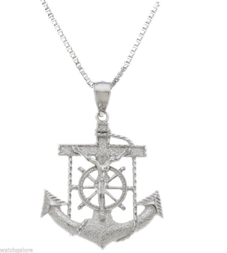 Helm /& Crucifix Charm Pendant 100/% 0.925 Sterling Silver Ships Anchor