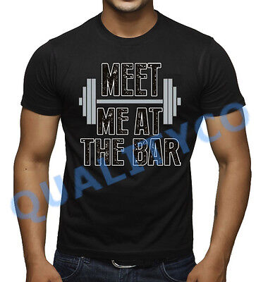 Men's Meet Me At The Bar Funny T Shirt Beast MMA Workout Muscle Gym Humor