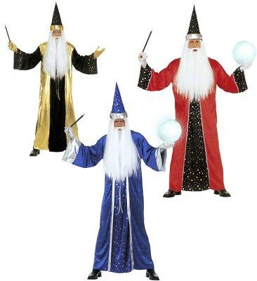 ANT 3184W Fantasy Zauberer Magier Witcher Karneval Herren Kostüm Blau Rot Gold (Herren Fantasy Kostüme)