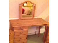 chest desk dresser with 4 drawers and mirror