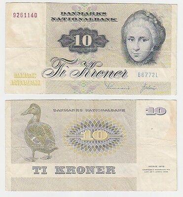 10 Kroner Banknote Dänemark 1972 (115768)