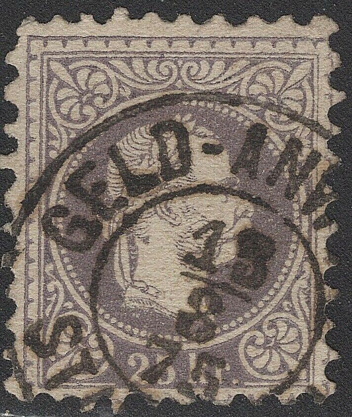 Austria 1874-80 25Kr.MI 40 II Sc 39 CD 13.08.75 GELD-ANWSNG ST..... HELP VF - $9.93