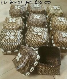 JOB LOT OF 10 FAB HANDMADE FAIR TRADE BOXES WITH REAL COWIE SHELLS -JEWELLERY , GIFT BOXES, PRESENTS