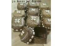 JOB LOT OF 10 HANDMADE FAIR TRADE BOXES WITH REAL COWIE SHELLS – NEW