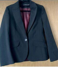 Womens Ladies River Island Black Striped Smart Formal Jacket Blazer - Size 10