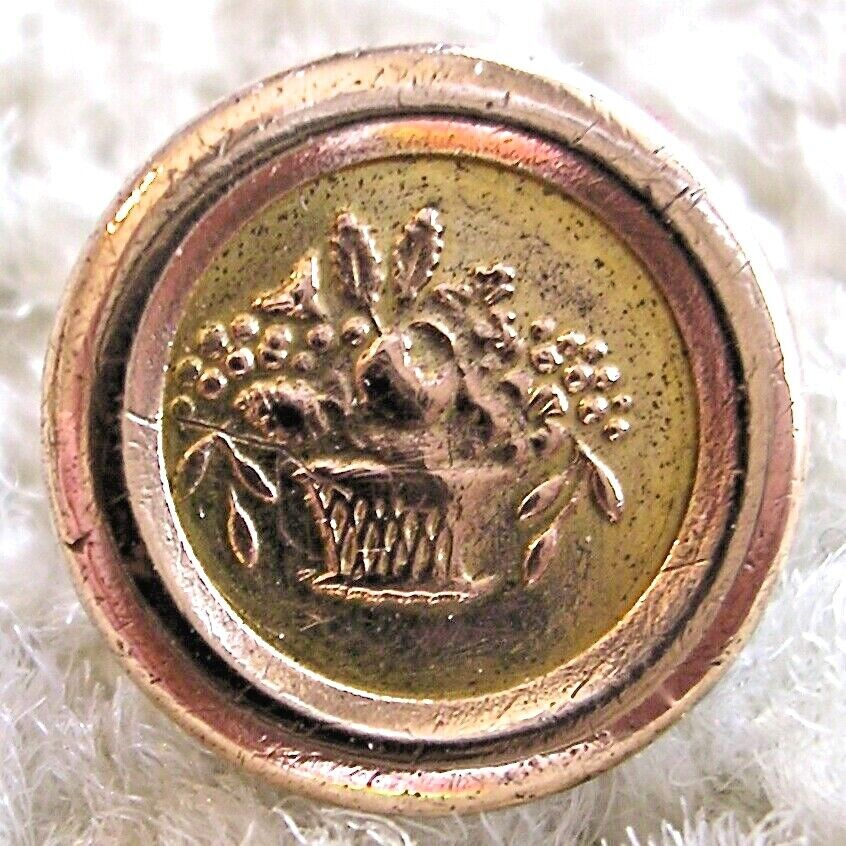 Ex Rare Tiny Jacksonian gilt button, ca.1820s/1830s, bowl of flowers back marked